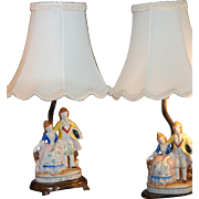 SALE PAIR of Occupied Japan Lamps Shades ~ c1949