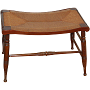 Rush Seat Bench w Wood Frame