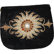 Beautiful Velvet Bag w Gold Wirework, Garnets EXCELL COND