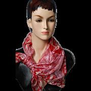 SALE -50%:Vintage Red & White 33x30 Silk Scarf w Rolled Edge