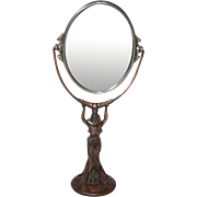 "Art Nouveau Standing ""Lady"" Dresser Top Mirror, 2 sided"