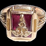 SALE Only 10 Made Rare William Backus 1937 10K Gold Caduceus Nurse Ring 1 of ...