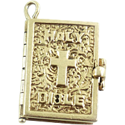 Vintage Mid Century 14k Gold Bible Prayer Book Charm Moveable