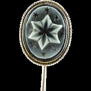 SALE Victorian 14k Gold Carved Stars Banded Agate Stickpin