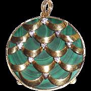 SALE Mid Century Italian 18K Gold Holiday Christmas Pendant VS1 Diamond Malachite