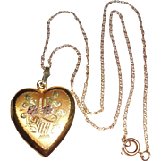 Art Deco Gold Filled Sterling Silver Fancy Heart Photo Locket Pendant Necklace