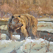 SALE PENDING Glacier National Park with Grizzly Bear Oil Painting by Mark Ogle
