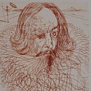 """Cervantes"" Etching by Salvidor Dali 1966"