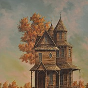 20th Century Painting of Victorian House by Gene Waggoner