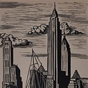 Wood Engraving of the Chrysler Building by Hendrik Glintenkamp 1942