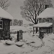 "Beautiful 1939 Etching ""Winter Chores"" by Ronau Woiceske"