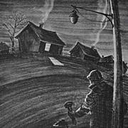 """""""Blackout"""" Original Lithograph by Paul Keller c. 1940"""