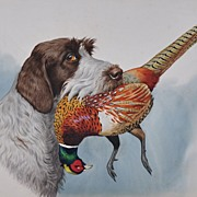 German Wirehaired Pointer with Pheasant by Boris Riab c. 1940