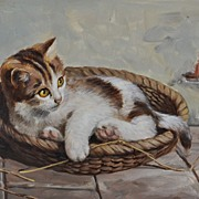 Adorable Kitten in a Basket by Hans Fenger (1893 - 1980)