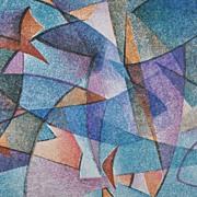 """Fluctuation"" Color Lithograph by Doris Meyer Chatham c. 1954"