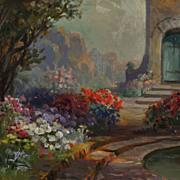 Garden Scene Oil Painting by California Artist Alice Best