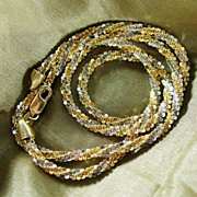"""12.50 Grams of Sparkling Italian 14K Two Tone Gold,  Necklace 17"""""""
