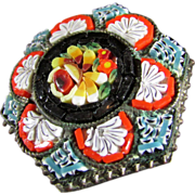 Vintage Micro Mosaic Hexagonal Pin, Made in Italy
