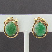 14K Yellow Gold Earrings with Jade Cabochons