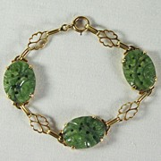 SALE Natural Jadeite Bracelet in 14K Yellow Gold, 7.25 Inches