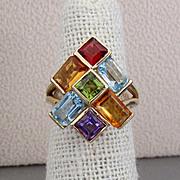 SALE 14K YG Multi-Colored Gemstone Ring, Size 5