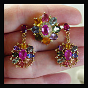14K Yellow Gold Multi-Color Natural Sapphire Set with Ring and Earrings
