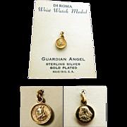 SALE DI ROMA Guardian Angel/ Mary & Baby Jesus Wrist Watch Medal in Vermeil