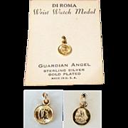 SALE Vermeil Guardian Angel Wrist Watch Medal Charm