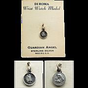 SALE Guardian Angel Wrist Watch Medal in Sterling Silver - DI ROMA