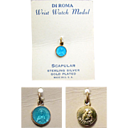 SALE SCAPULAR Wrist Watch Medal in Blue Enamel over Vermeil by DI ROMA