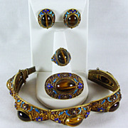 SALE Tiger's Eye & Enamel Gilt SILVER Set with Bracelet, Ring, Earrings and Brooch