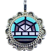 SALE Zuni Inlay Pendant with Mother-of-Pearl, Turquoise & Onyx