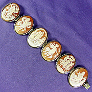 14K YG Hand Carved Shell Cameo Bracelet 7 1/2 Inches Long