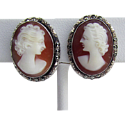 SALE 1920's - 1930's Hand Carved Shell Cameo Earrings in 800 Silver