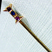 14K YG Gemstone Stick Pin