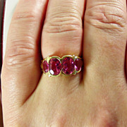 SALE 14K YG Pink Tourmaline Ring Size  7 1/4