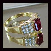 14K Yellow Gold Rubellite Tourmaline Ring Size 8