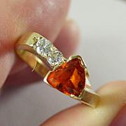14K YG Mandarin Garnet Ring Size 8