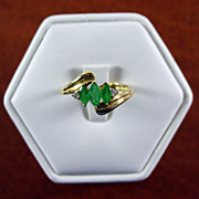 14K YG Emerald Ring with Diamond Accents  Size 7 1/4