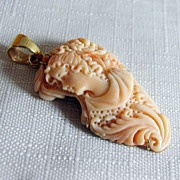 SALE Natural Coral Hand Carved Cameo Pendant with 14K Back and Bail