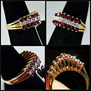 """SALE 14K Yellow Gold Ring """"V"""" Design with Rubies & Diamonds"""