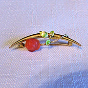 SALE 14K Yellow Gold Natural Coral Rose and Enamel Leaf Pin
