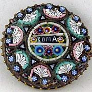 """Italian Micro Mosaic """"Roma"""" Pin"""