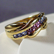 14K Yellow Gold Ring with Pink Tourmaline & Blue Topaz Size 6