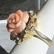 SALE Hand Carved Natural Angel Skin Coral Ring Sz 6.25 14K YG