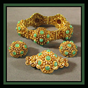 SALE Chinese Aventurine Gemstone Set with Bracelet, Earrings & Brooch, Circa 1930's