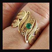 14K Yellow Gold Emerald Ring Size 8, Hand Made Custom Ring