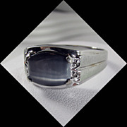 10K White Gold Man's Blue/Gray Tiger's Eye Ring Size 13 1/4