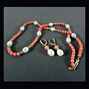 "14K Set with Coral & Cultured Pearls - 18"" Necklace & Earrings"