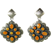 SALE New Old Stock Sterling Spiny Oyster Earrings Made by Native American Silversmith Albert J